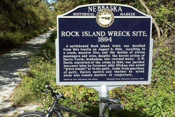 Nebraska Historical Marker Rock Island Wreck Site 1894 E